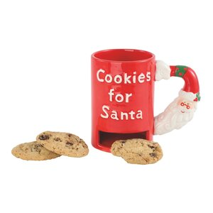 Santa Stop Here Embossed Santa Handle 20 oz. Cookie Mug