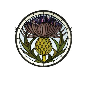 Tiffany Thistle Medallion Stained Glass Window