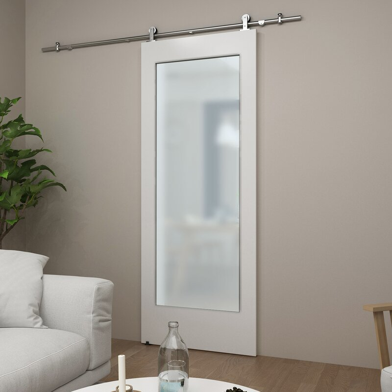 Colonial Elegance One Lite Glass Barn Door Without Installation
