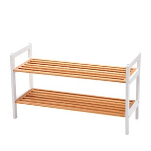Rebrilliant Bamboo 2 Tier Shoe Rack