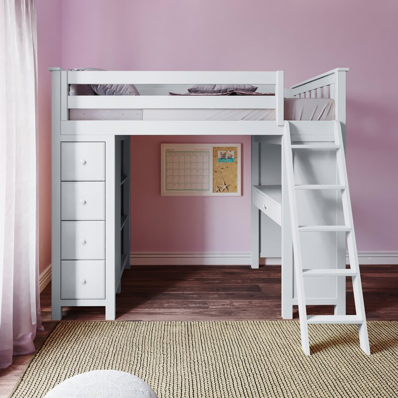Harriet Bee Ayres Twin Loft Bed With Drawers And Shelves Reviews