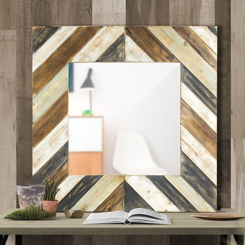 Union Rustic Braden Rustic Wood Plank Square Framed Wall Mirror ...