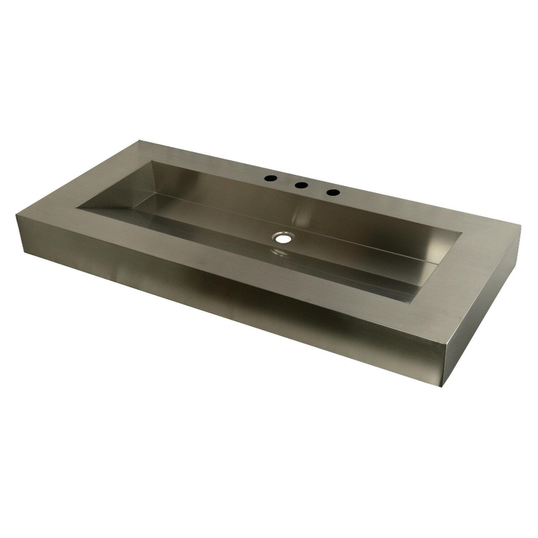 Kingston Brass Kingston Commercial Stainless Steel Rectangular Drop In Bathroom Sink Wayfair