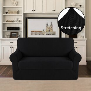 2 Piece Jacquard Stretch Fit Leather-Safe T-Cushion Loveseat Slipcover Set By Symple Stuff