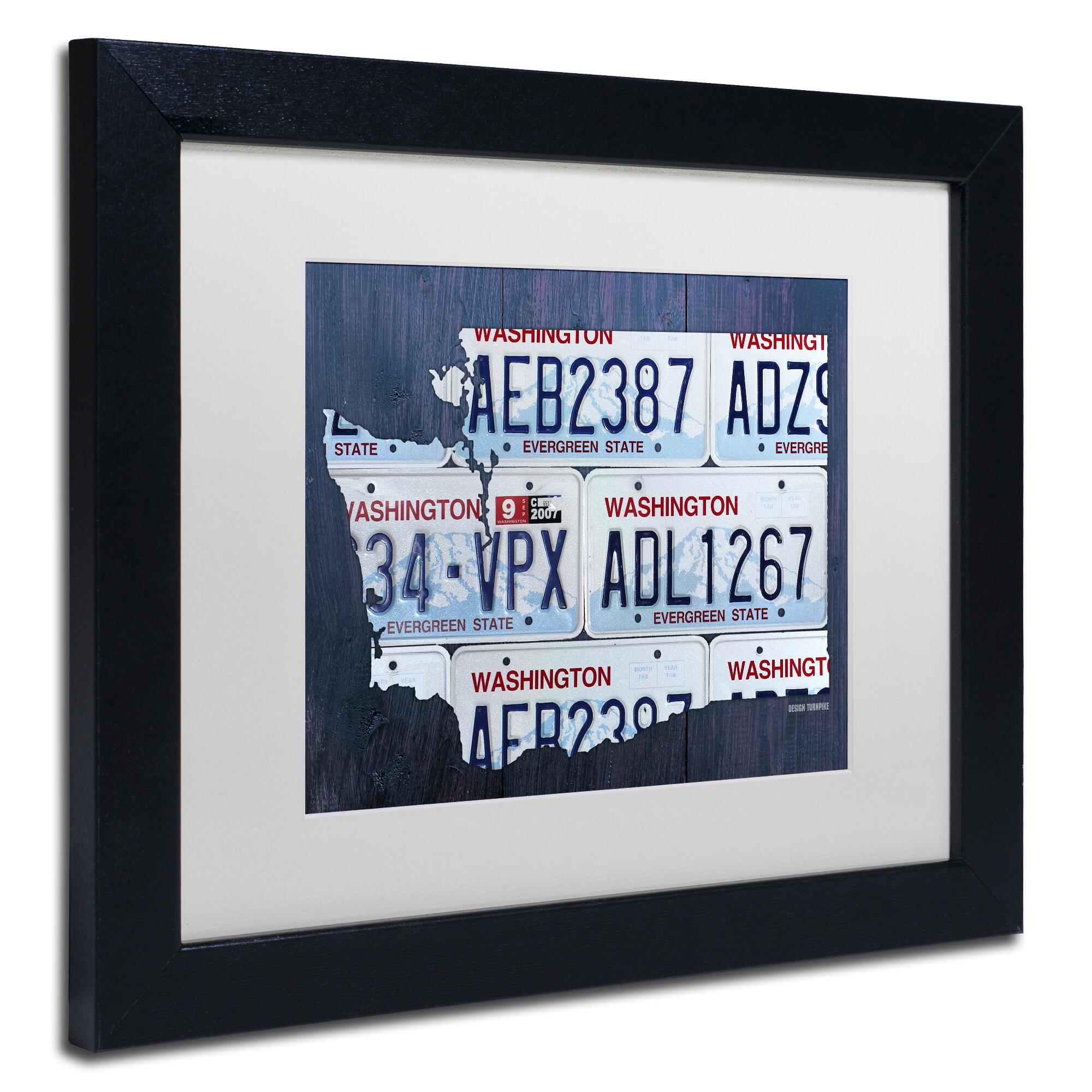 Latitude Run Washington License Plate Map By Design Turnpike Framed Graphic Art Wayfair