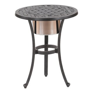 Round Outdoor Metal Table For Lehmann Round Ice Bucket Bistro Table Patio Tables Youu0027ll Love Wayfair
