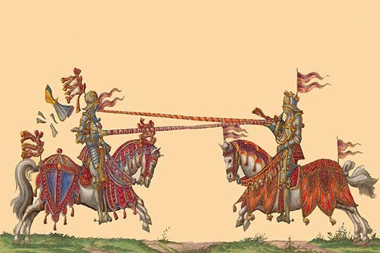 Buyenlarge Lances At The Thrust Between Knights By Hector Mair Paulus Graphic Art Wayfair