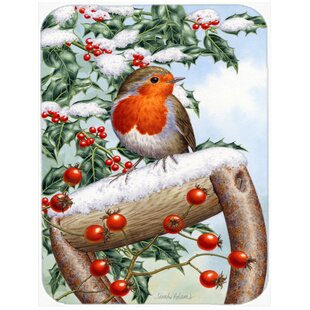 European Garden Robin Glass Cutting Board By Caroline's Treasures