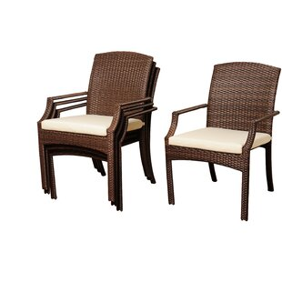 Beachcrest Home Aquia Creek Stacking Patio Dining Chair with Cushion (Set of 4)
