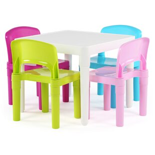 Online Reviews Kids' 5 Piece Square Table and Chair Set ByTot Tutors
