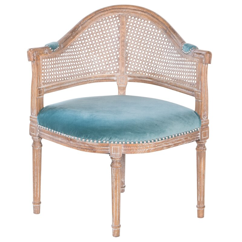 Superbe Fae French Antique Cane And Velvet Barrel Chair
