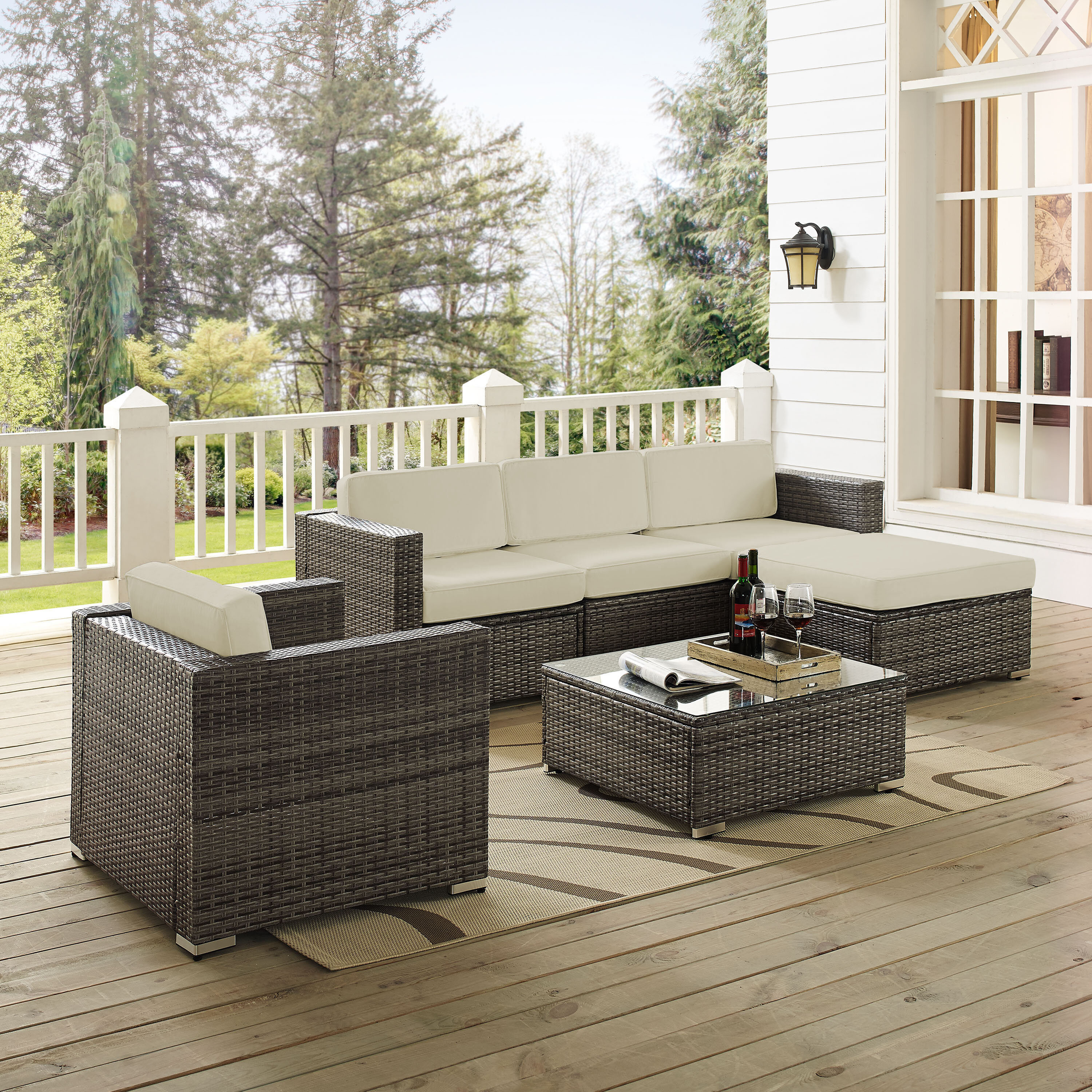 6 Piece Rattan Sectional Seating Group