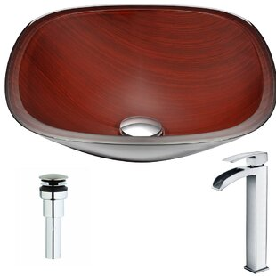ANZZI Cansa Glass Square Vessel Bathroom Sink with Faucet