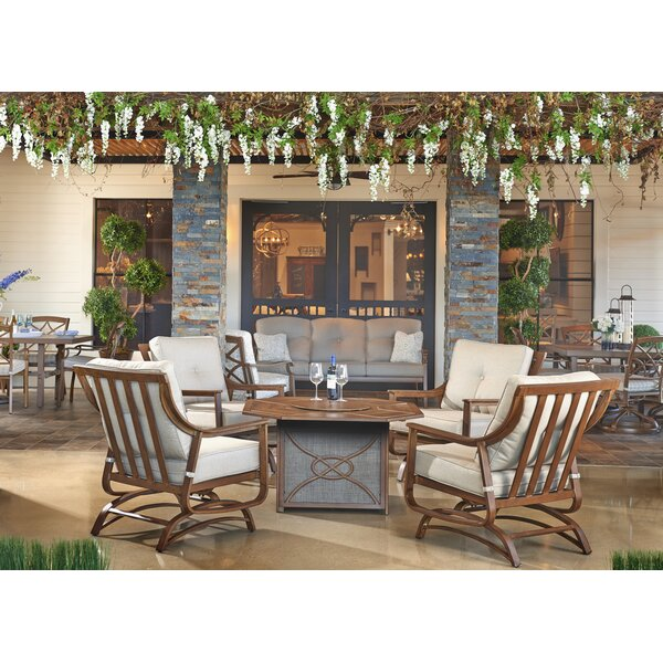 Trisha Yearwood Home Collection Outdoor Fire Pit 5 Piece Deep Seating Group  With Sunbrella Cushion U0026 Reviews | Wayfair Part 64