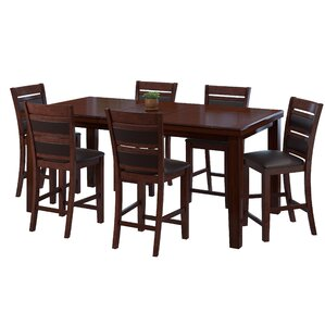 Drago 7 Piece Wood Counter Height Dining Set by World Menagerie
