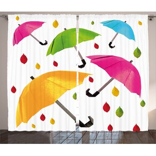 Umbrella with Leaf Droplets Water Decor Graphic Print Room Darkening Rod Pocket Curtain Panels (Set of 2) by East Urban Home