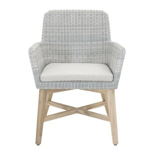 Dieter Teak Patio Dining Chair with Cushion (Set of 2)