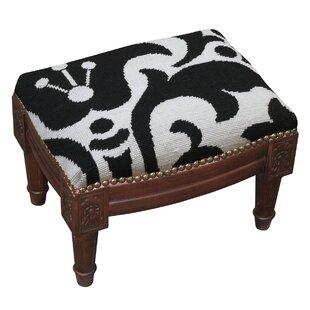 Damask Wool Needlepoint Upholstered Ottoman