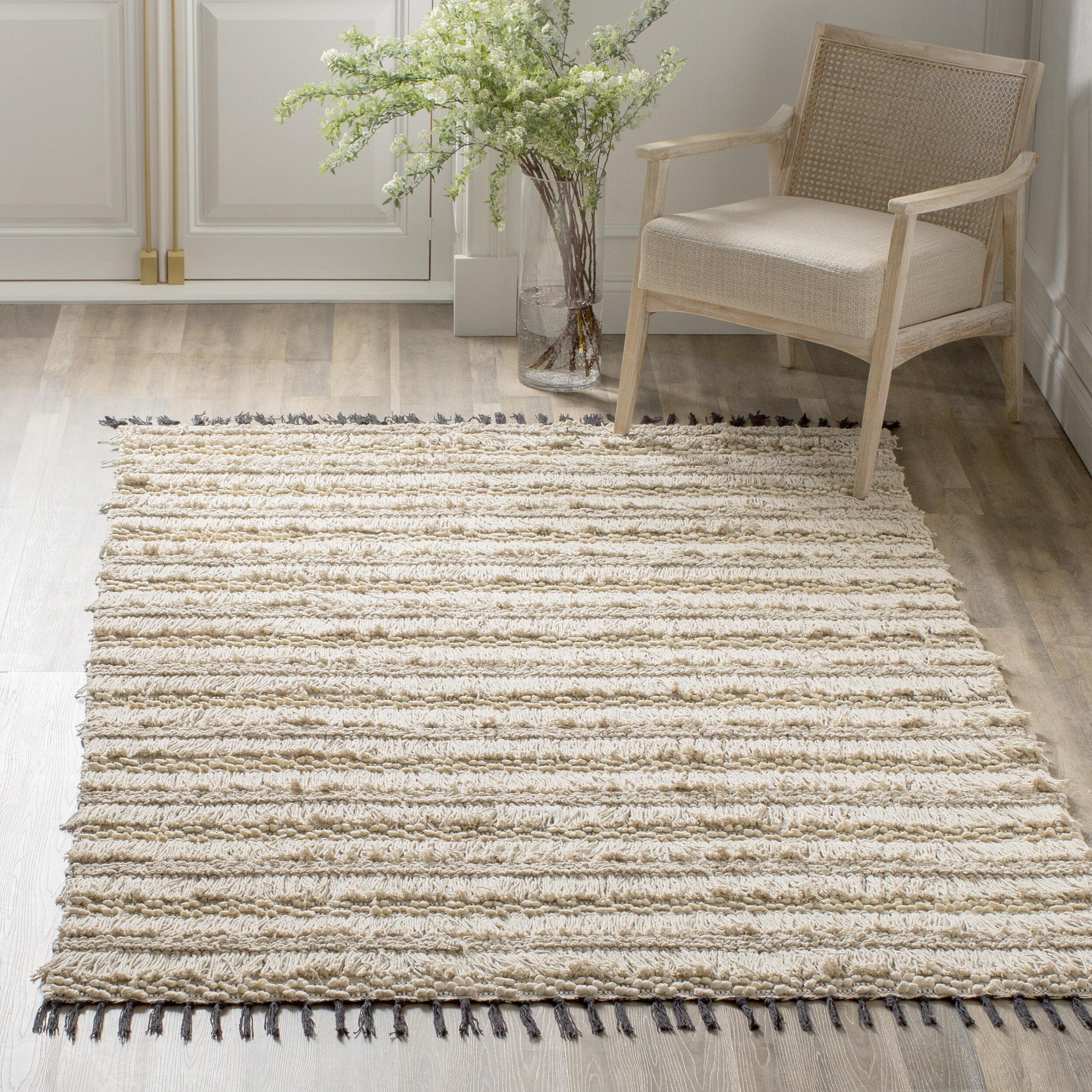Kelly Clarkson Home Boddie Striped Handmade Cotton Beige Area Rug Reviews Wayfair