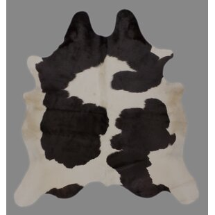 Compare prices Cravens Holando Hand-Woven Cowhide Black/White Area Rug By Foundry Select