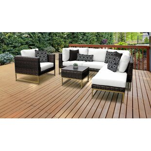 Barcelona Outdoor 7 Piece Sectional Seating Group with Cushions