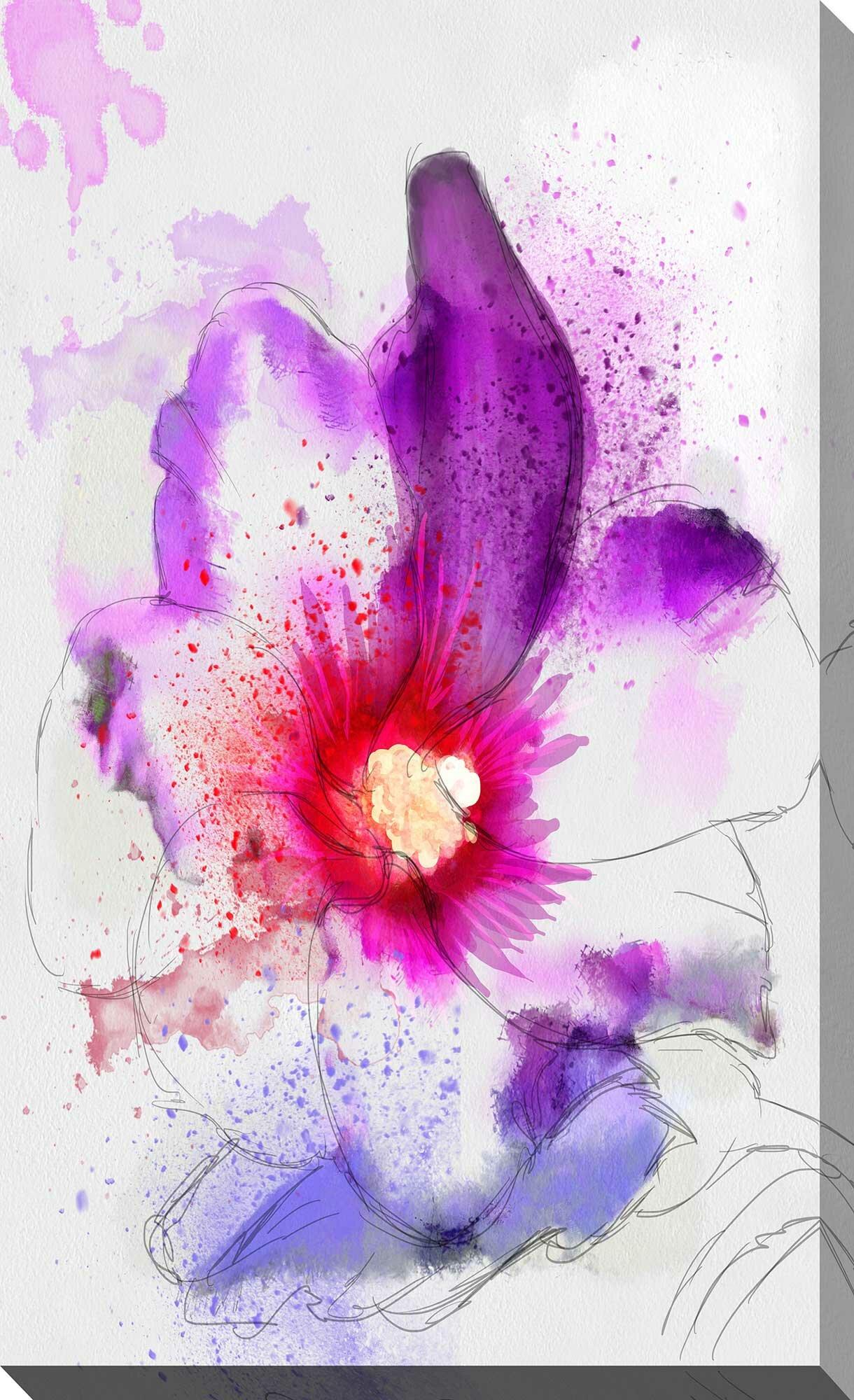 Ebern Designs Splashes V Watercolor Painting Print On
