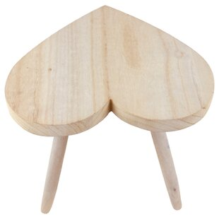 Carmona Natural Wooden Heart Stool By August Grove