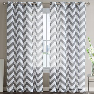 Bequette Chevron Sheer Grommet Curtain Panels (Set of 2)