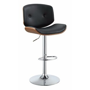 Lee-Abele Adjustable Height Swivel Bar Stool by Orren Ellis