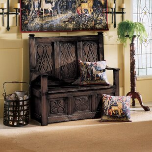 Historic Monk's Storage Wood Bench By Design Toscano