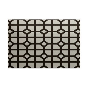 Beane Geometric Print Dark Brown Indoor/Outdoor Area Rug