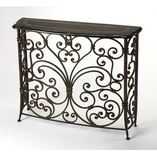 Stovall Metal and Stone Console Table by Fleur De Lis Living