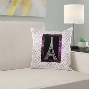 Eiffel Tower on a Diamond Pattern Background Pillow Cover