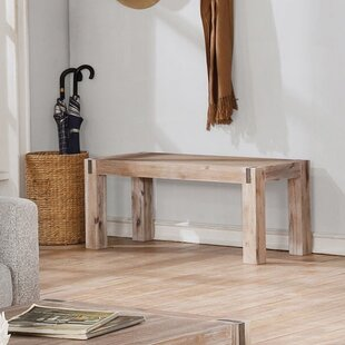 Gracie Oaks Henry Solid Wood Bench