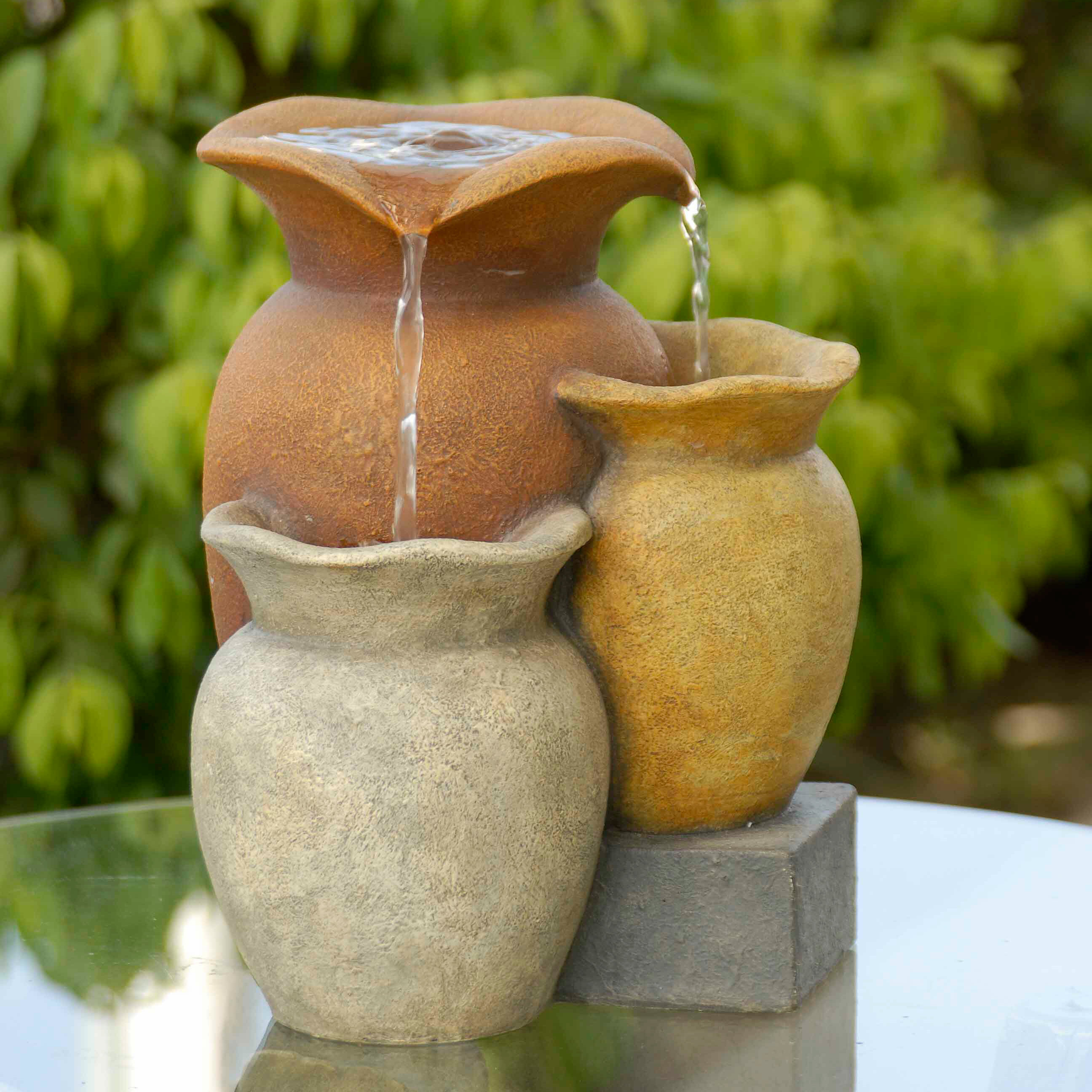 Polyresin /& Fiberglass Tiered Colorful Pots Wall Fountain