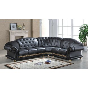 Caldanagh Leather Corner Sofa By Astoria Grand