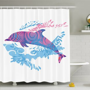 Sea Animals Dolphin Figure with Colorful Patterns Underwater Life Shower Curtain Set