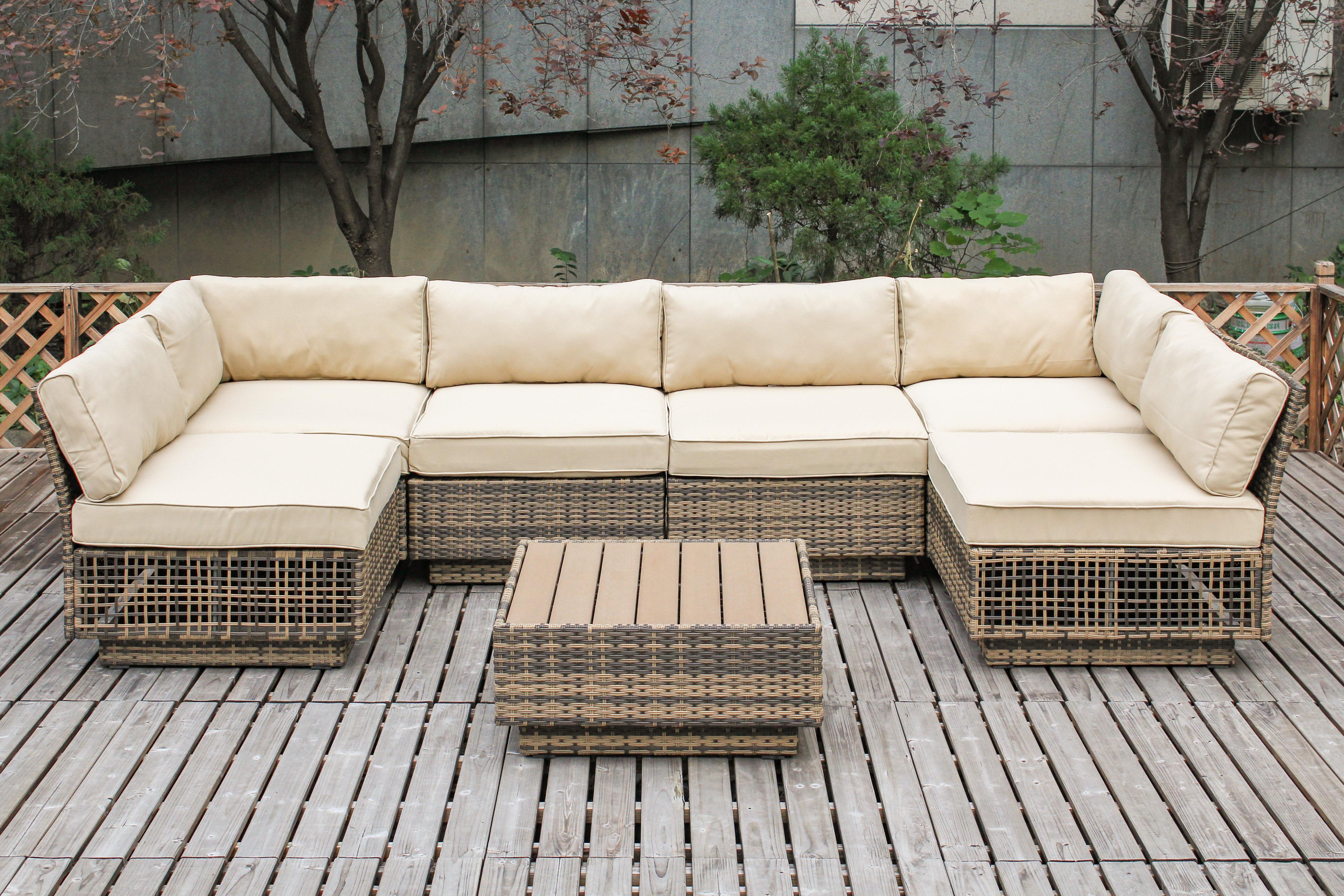Bayou Breeze Alaia 7 Piece Sectional Set With Cushions Reviews Wayfair