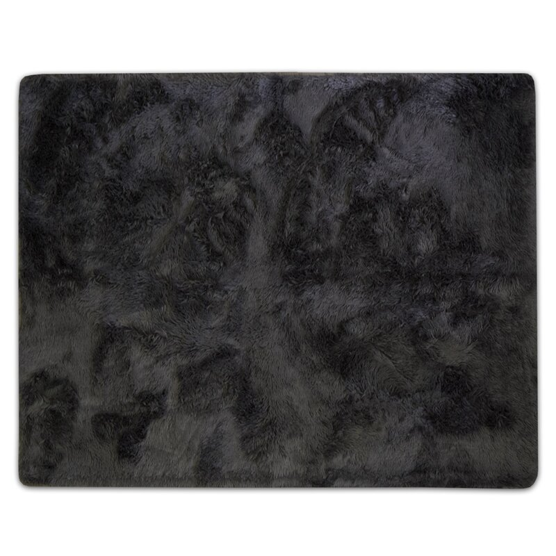 Hutton Plush Faux Fur Gray Area Rug