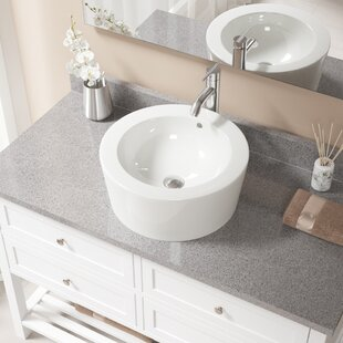 Check Prices Vitreous China Circular Vessel Bathroom Sink with Faucet and Overflow By MR Direct