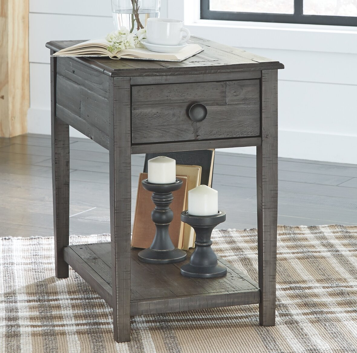 Gracie Oaks Quirion Solid Wood End Table With Storage Reviews Wayfair