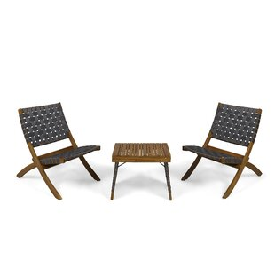 Gertrud Outdoor Foldable 2 Seater Acacia Wood Chat Set by Home Loft Concepts