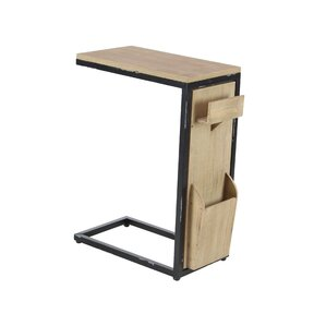 Baleine Modern Fir Wood And Iron C Shaped Multipurpose End Table