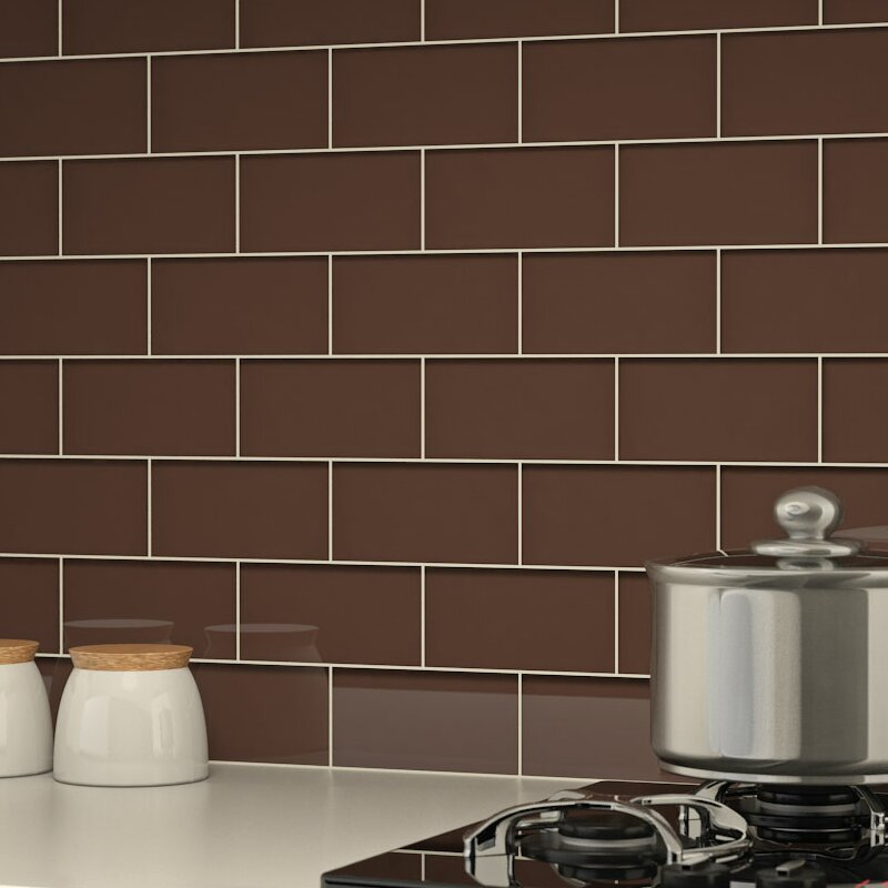 Giorbello 3 X 6 Glass Subway Tile In Classic Brown Reviews Wayfair