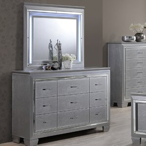 Reena 9 Drawer Dresser with Mirror by Rosdorf Park
