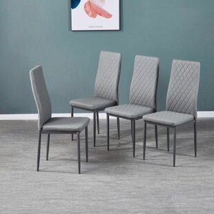 Cotton Tufted Upholstered Dining Chair Set of 4 by Latitude Run