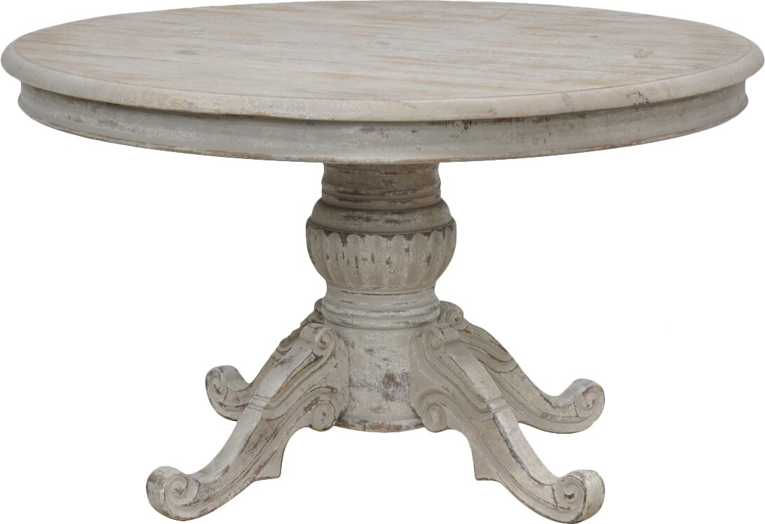 Distressed Round Pedestal Dining Table #pedestaltable #farmhousetable #farmtable