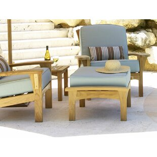 Frausto Outdoor Teak Ottoman with Cushion by Millwood Pines