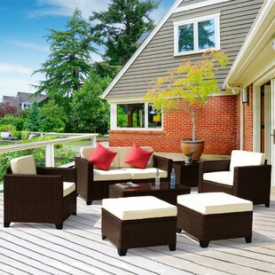 Whately 7 Piece Rattan Sofa Seating Group with Cushions