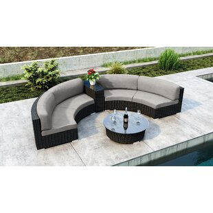 Glendale 4 Piece Sectional Seating Group With Sunbrella Cushions By Everly Quinn